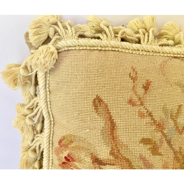 French Provincial Aubusson Style Throw Pillow For Sale - Image 4 of 9