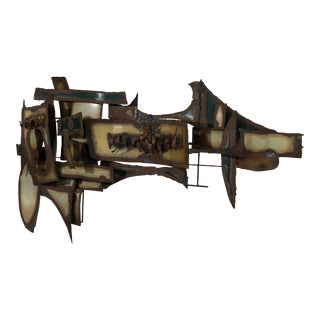 Brutalist Abstract Metal Wall Sculpture