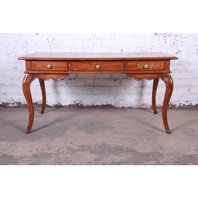 Vintage French Provincial Louis XV Style Oak Writing Desk by Hickory For Sale - Image 13 of 13