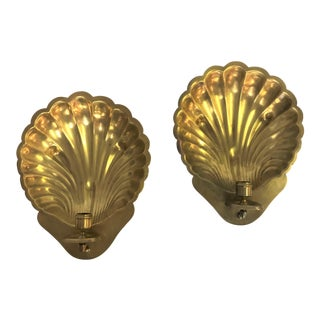 Vintage Brass Shell Wall Mount Candle Sconces - a Pair For Sale