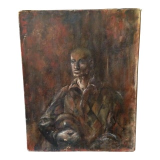 Mid-Century Modernist Moody Man Oil Portrait For Sale
