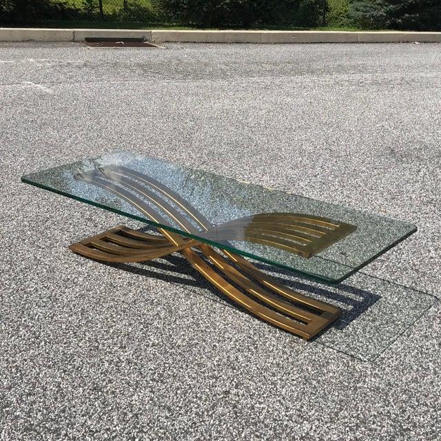 Vintage Hollywood Regency Gilt Slatted Steel Sculptural X Base Glass Top Coffee Table For Sale - Image 11 of 13