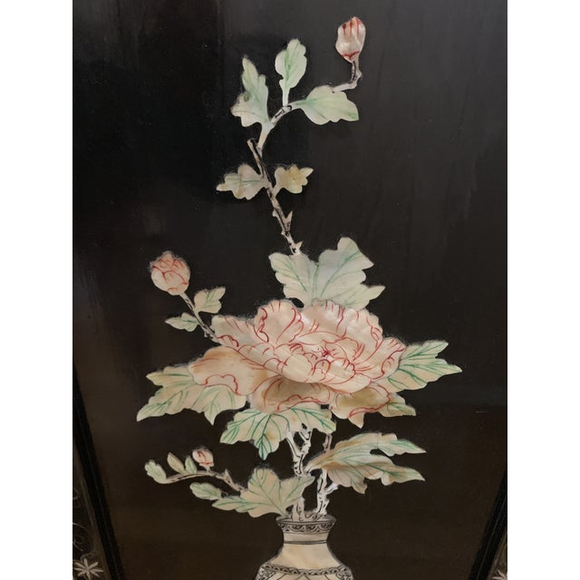 Black Midcentury Mother of Pearl Asian Chinoiserie Wall Accent For Sale - Image 8 of 13