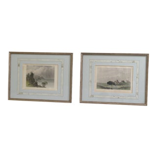 Early 20th Century Antique Framed Colored American Indian Hunting Engravings - A Pair For Sale