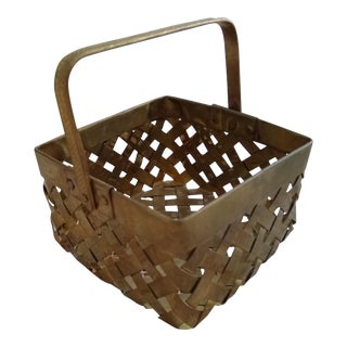 Vintage Brass Woven Basket For Sale