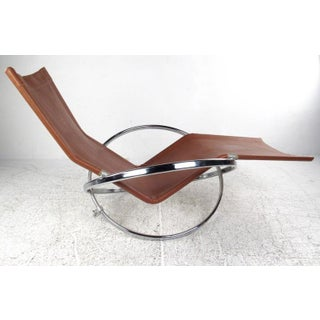 Modernist Chrome and Vinyl Chaise Lounge Chair Preview