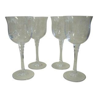 1980s Mikasa Kensington Ribbed Crystal Grand Vin Goblets - Set of Four For Sale