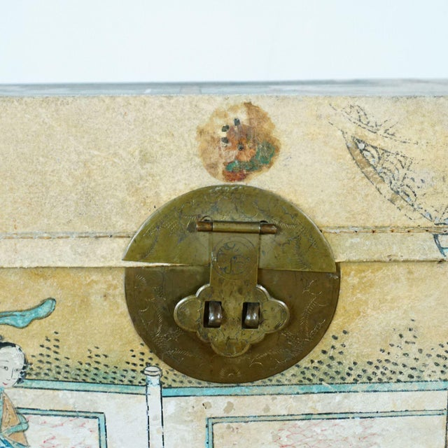 Antique Chinese Leather Trunk For Sale - Image 10 of 12