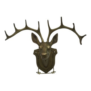 Vintage Solid Brass Wall Mount Stag Head With Mounting Anchors and Brass Screws For Sale