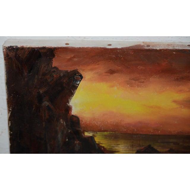 "1960s Irina Roudakoff Belotelkin (january 1, 1913 – January 21, 2009) ""coastal Sunset"" Oil Painting C.1960s For Sale - Image 5 of 8"