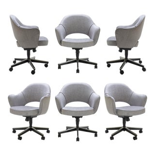 Saarinen Executive Arm Chairs in Sterling Weave, Swivel Base - Set of 6 For Sale