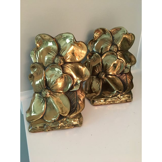 1960s Art Deco Brass Dogwood Bookends - a Pair For Sale - Image 9 of 9
