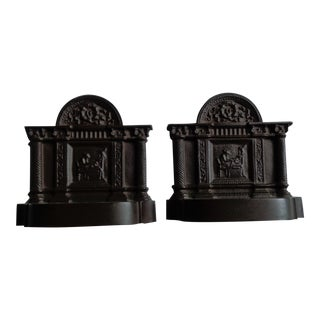 Antique Grecian Scene Bronze Bookends - A Pair