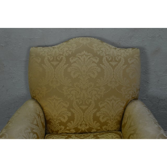 Georgian Georgian Style Custom Carved Mahogany Paw Foot Lounge Chair Bergere For Sale - Image 3 of 12
