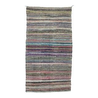 """Vintage Striped Rag Rug - 5'1"""" x 9'7"""" For Sale"""