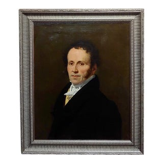 19th Century Portrait of a Gentleman in Black -Oil Painting -C1840s For Sale