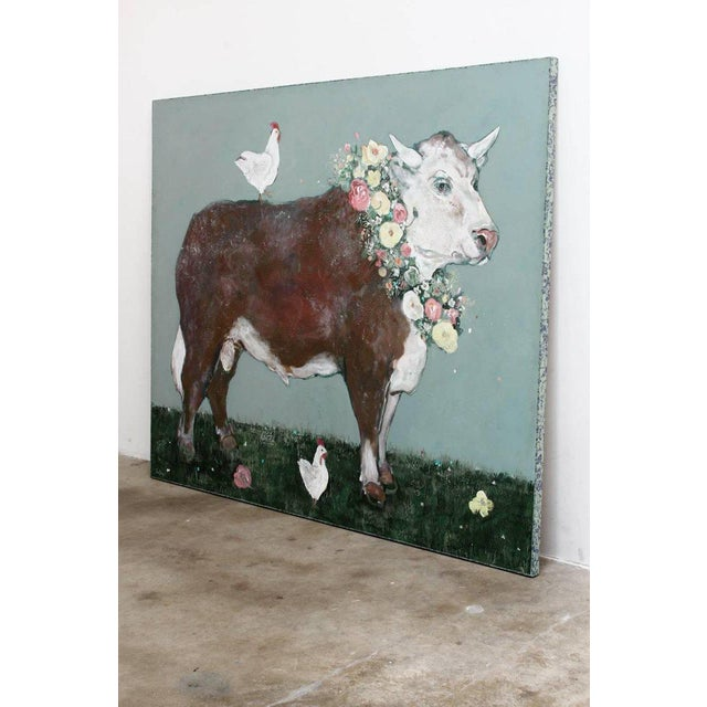 Blue French Flowered Cow With Chickens Painting by Ira Yeager For Sale - Image 8 of 13