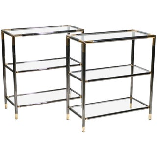 French Gunmetal and Brass Three-Tiered Shelves, 1970s - A Pair For Sale