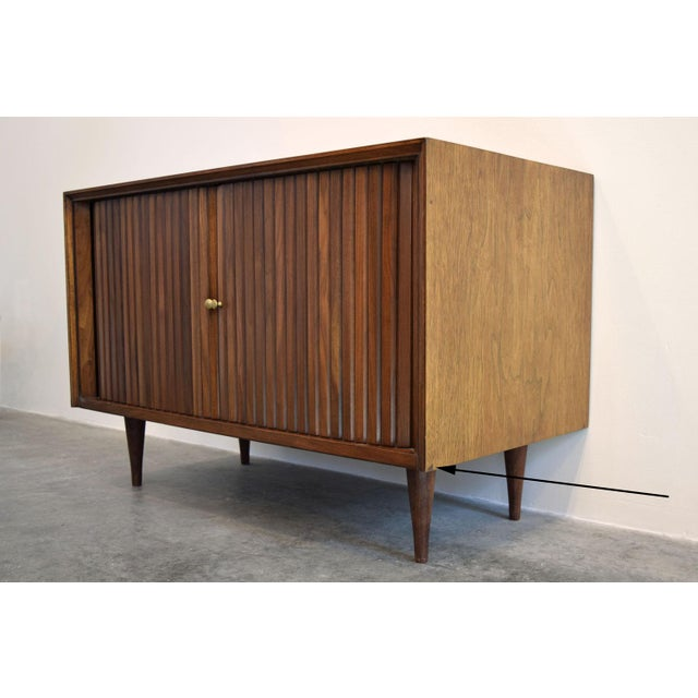 Mid Century Walnut Tambour Door Cabinet Or Tv Stand By Furnette
