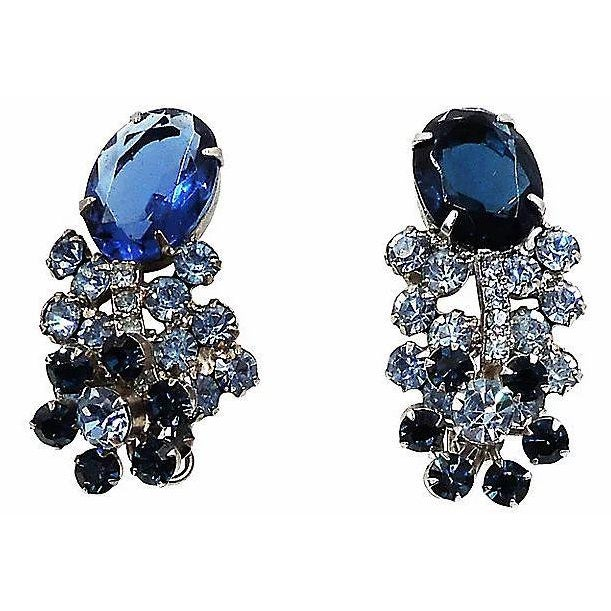 Mid-Century Modern 1960s Delizza & Elster Rhinestone Earrings For Sale - Image 3 of 8