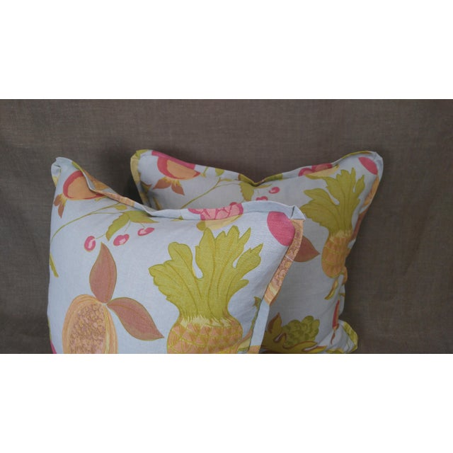 2020s Raoul Textiles Throw Pillows in Miranda Linen Print - a Pair For Sale - Image 5 of 7