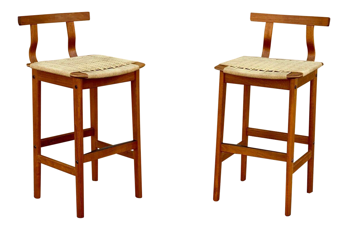 Picture of: 1960s Danish Mid Century Modern Teak Woven Cord Barstools A Pair Chairish