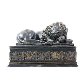 Early 20th Century Antique Bronze Resting Lion Box For Sale