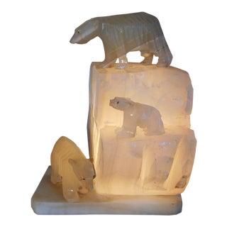 Vintage Carved Alabaster Iceberg/Polar Bear Sculpture Table Lamp For Sale