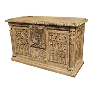 Small Stripped Oak Gothic Trunk From France, Circa 1890 For Sale