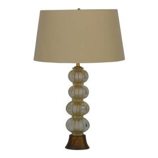 Heavy Gilt Murano Glass Stem Lamp With Custom Silk Shade For Sale
