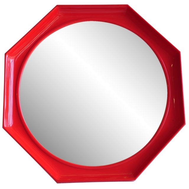 Red Octagonal Mirror - Image 1 of 2