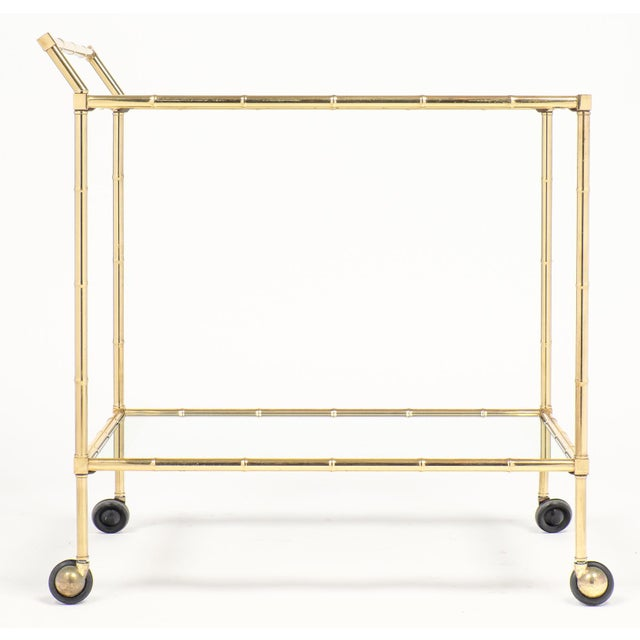 Art Deco Vintage French Brass Faux Bamboo Bar Cart or Trolley by Maison Baguès For Sale - Image 3 of 9