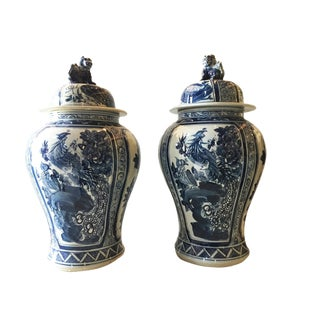 H. Painted Chinoiserie Ginger Jars - a Pair