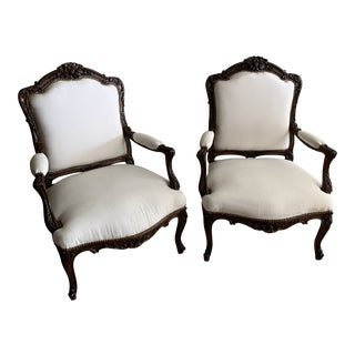 Late 19th Century Antique Carved Wooden Arm Chairs- A Pair For Sale