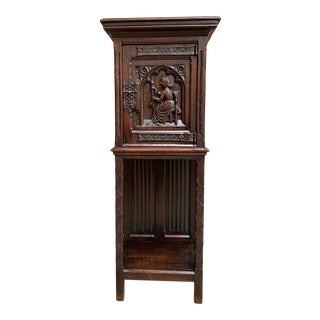 Antique French Carved Oak Gothic Vestment Storage Cabinet For Sale