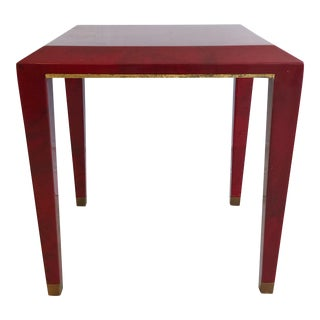 Mid Century Enrique Garcel Side Table in Red Goatskin With Gold Trim For Sale