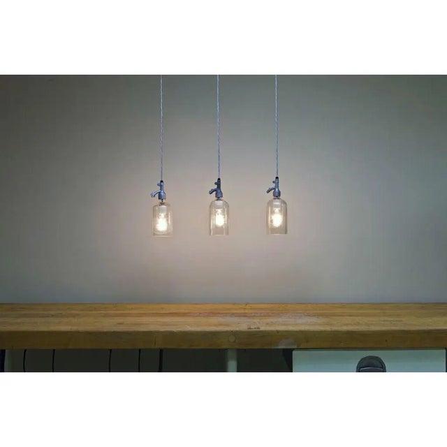 Modern Seltzer Bottle Pendant Light, Clear or Blue Glass For Sale - Image 3 of 8