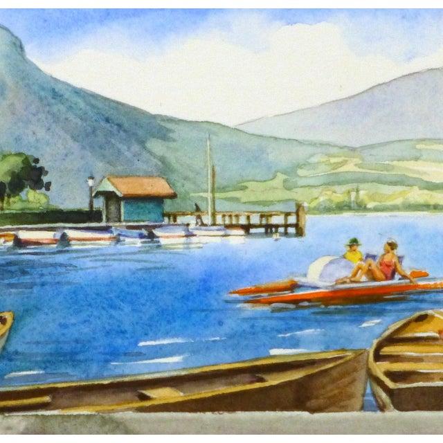 Original French Lake Watercolor - Image 2 of 3