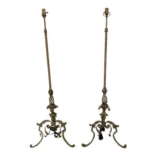 French Wrought Iron Floor Lamps - A Pair For Sale