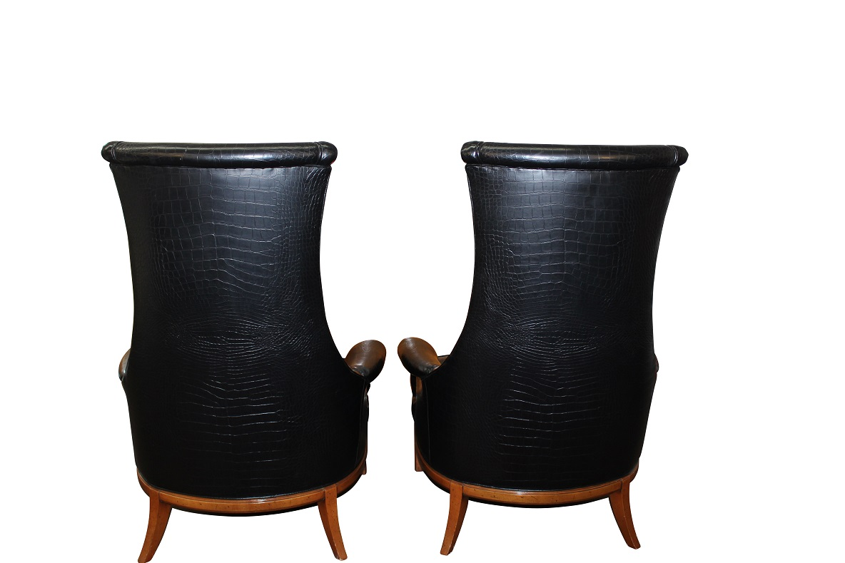 Tomlinson Black Crocodile High Back Chairs   Pair For Sale   Image 5 Of 9