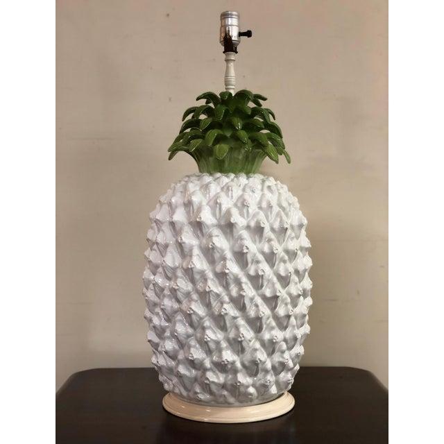 Mid Century Italian Majolica Pineapple Table Lamp For Sale - Image 11 of 11