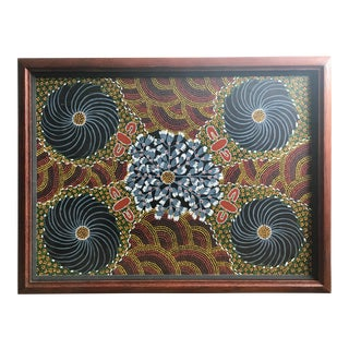 Framed Aboriginal Dot Painting Attributed to Ruby Abbott For Sale