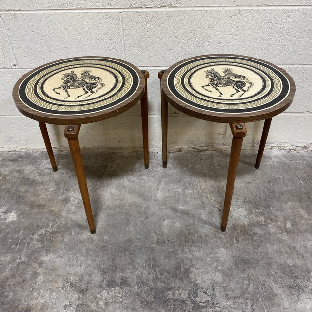 Greek Motif Wood Drink Tables - a Pair For Sale - Image 11 of 11