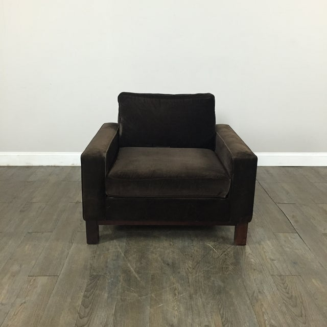 Room & Board Brown Suede Club Chair - Image 3 of 11