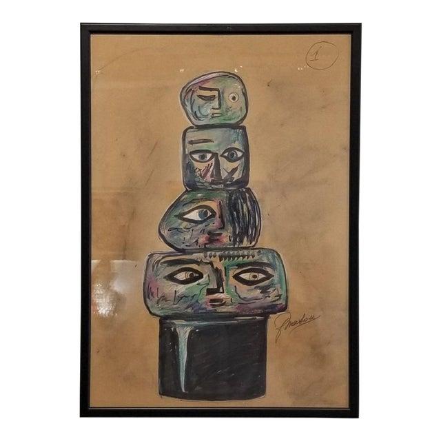 1960s Vintage Ermanno Nason Original Sculpture of a Totem Preparatory Drawing For Sale
