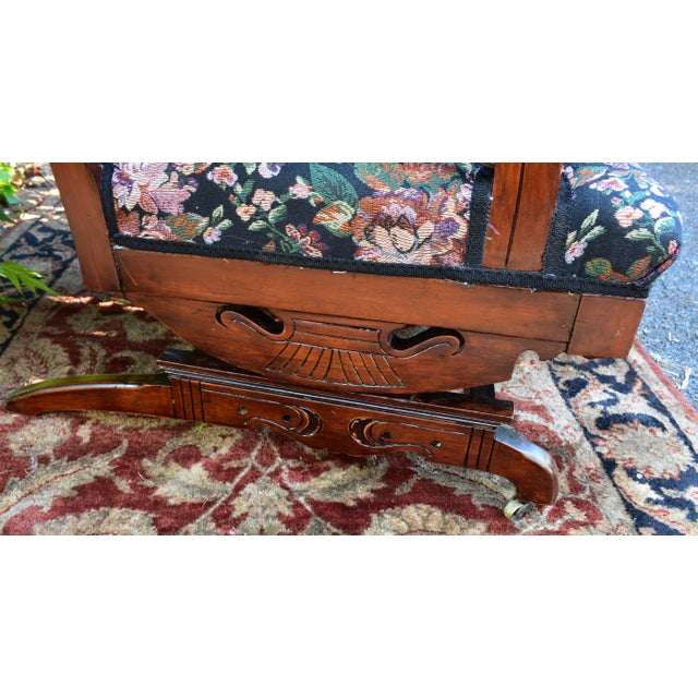 Wood 19th Century Antique Victorian Eastlake Mahogany Rocking Chair New Upholstery For Sale - Image 7 of 13