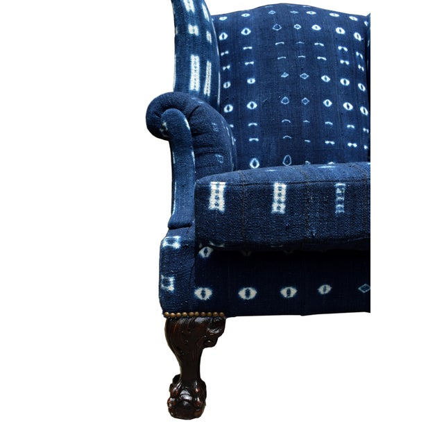 We love this indigo treatment to this beautiful wingback chair! This comfortable wingback in its trendy blue indigo will...