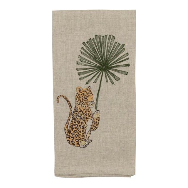 Jaguar With Palm Left Tea Towel For Sale
