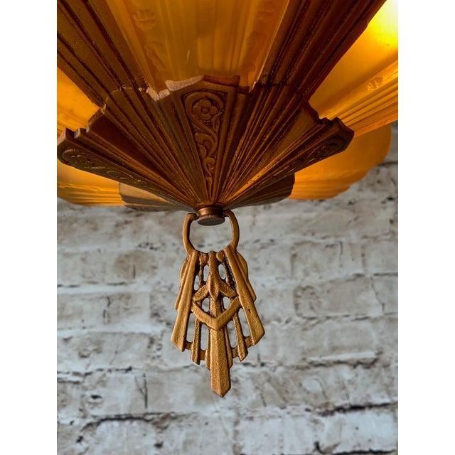 "Art Deco 1930s Art Deco 5 Light Virden ""Rayburn"" Chandelier For Sale - Image 3 of 6"