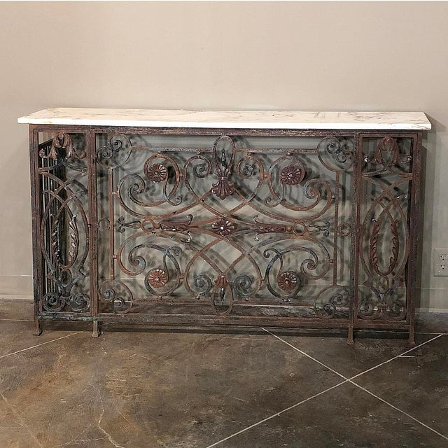 Mid 19th Century Pair 19th Century Wrought Iron Marble Top Consoles For Sale - Image 5 of 13